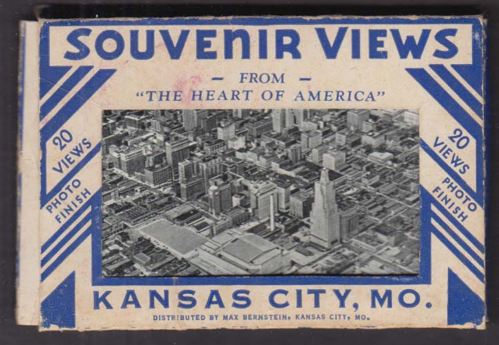 20 Souvenir Views of Kansas City MO 1930s RR Station Airport Fokker F-32 +