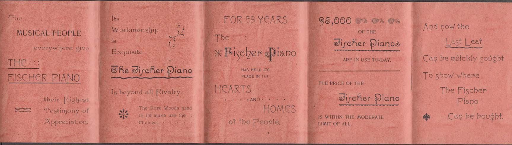 Fischer Piano Warerooms 5th Avenue New York City folder mailer 1893