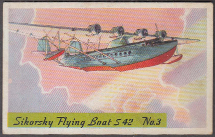 Heinz Rice & Wheat Cereal airplane card #3 Sikorsky S-42 Flying Boat 1930s