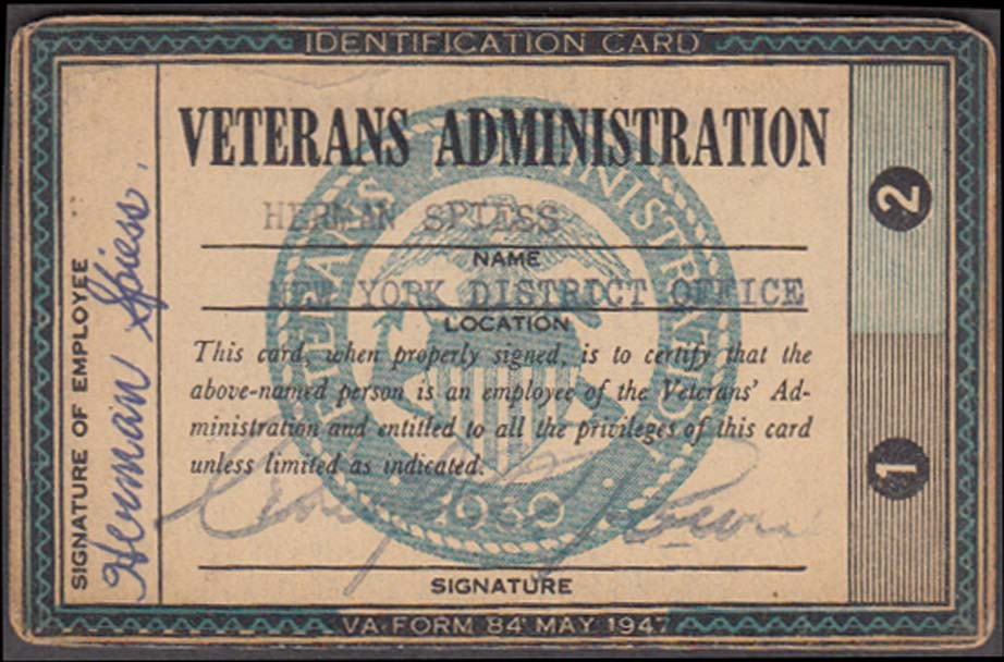 Veterans Adminitration Employee Identification Card NY District Office 1947
