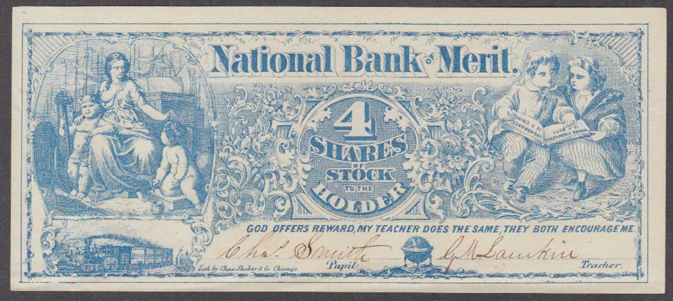 National Bank 4 Shares Reward of Merit Bank Note Chas Shober Chicago 1860s