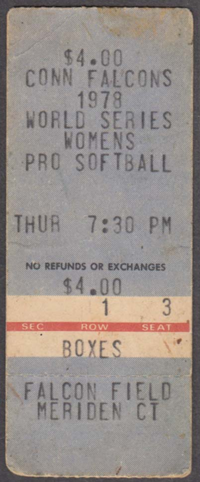 Connecticut Falcons Womens Pro Softball World Series Ticket Meriden CT 1978