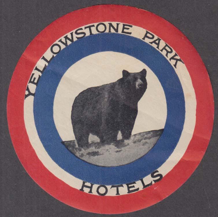 Yellowstone Park Hotels bear motif baggage sticker gummed ca 1940s