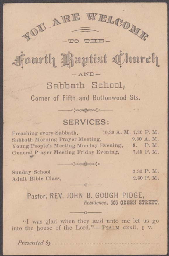 Fourth Baptist Church Philadelphia Welcome card John B Gough Pidge Pastor