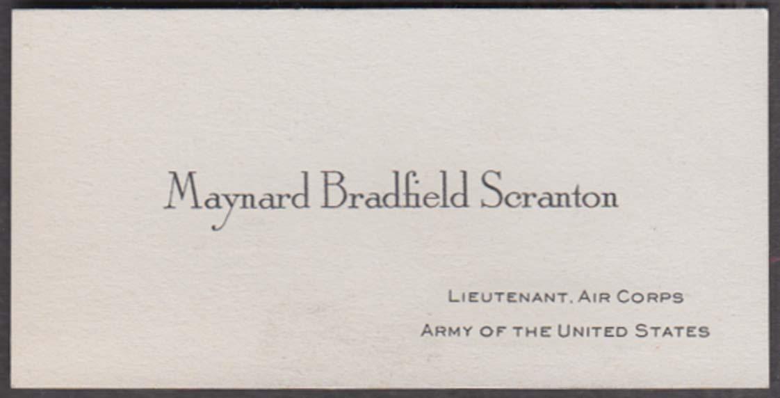 Maynard Bradfield Scranton Lieutenant Air Corps United States Army card