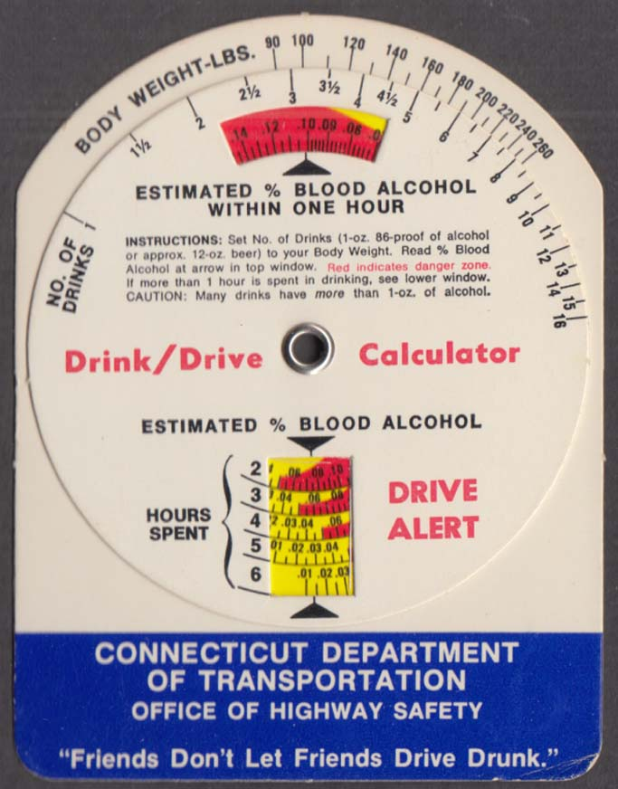 Connecticut Dept of Transportation Drink / Drive Calculator ca 1980s