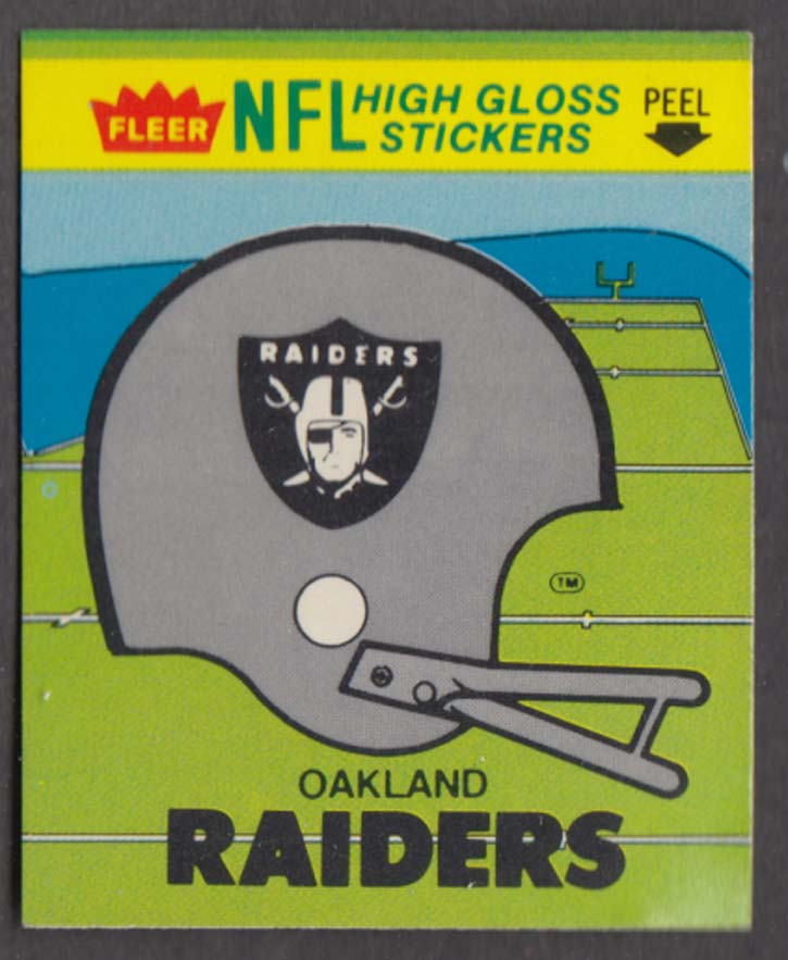 Fleer NFL High Gloss Stickers Oakland Raiders w/ schedule on back 1981