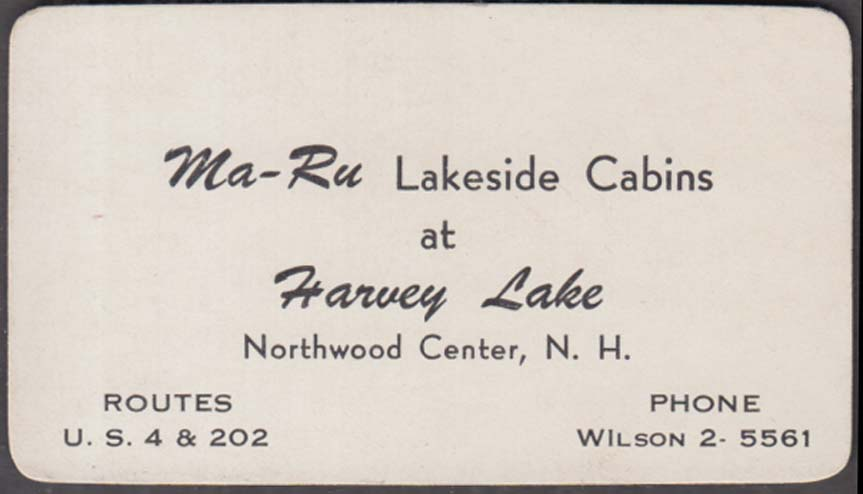 Ma-Ru Lakeside Cabins at Harvey Lake Northwood Center NH business card