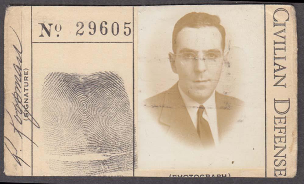 Connecticut Civilian Defense Force identification card Hartford 1940s