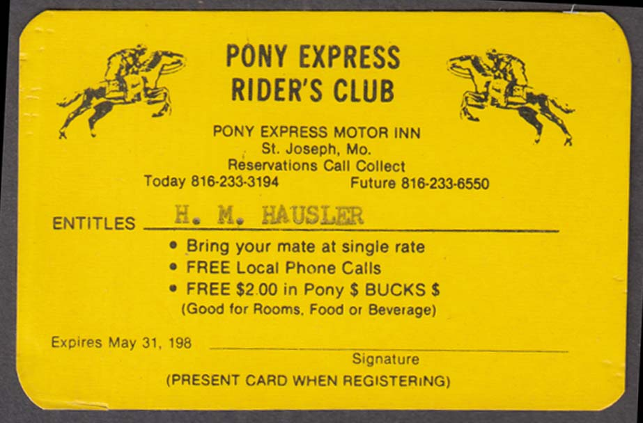 Pony Express Rider's Club Motor Inn Courtesy Card St Joseph MO 1980s