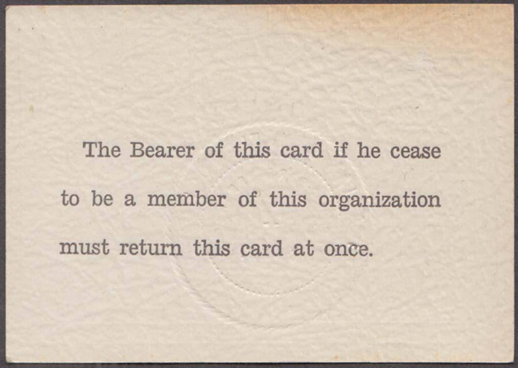Italian Alliance Clubs of N America Benefit Society Membership Card 1940s