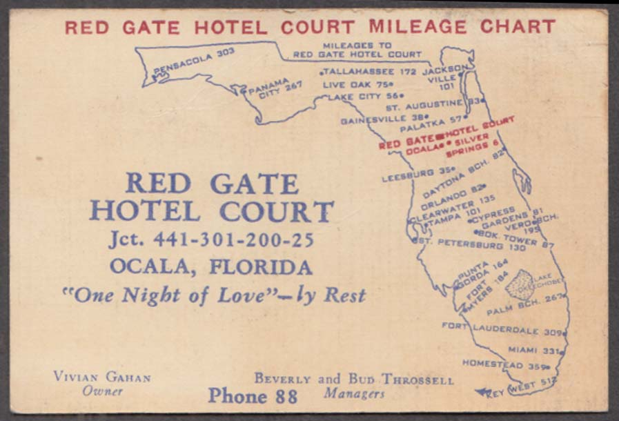 Red Gate Hotel Court Silver Springs FL card & mileage chart The Throssells 1940s