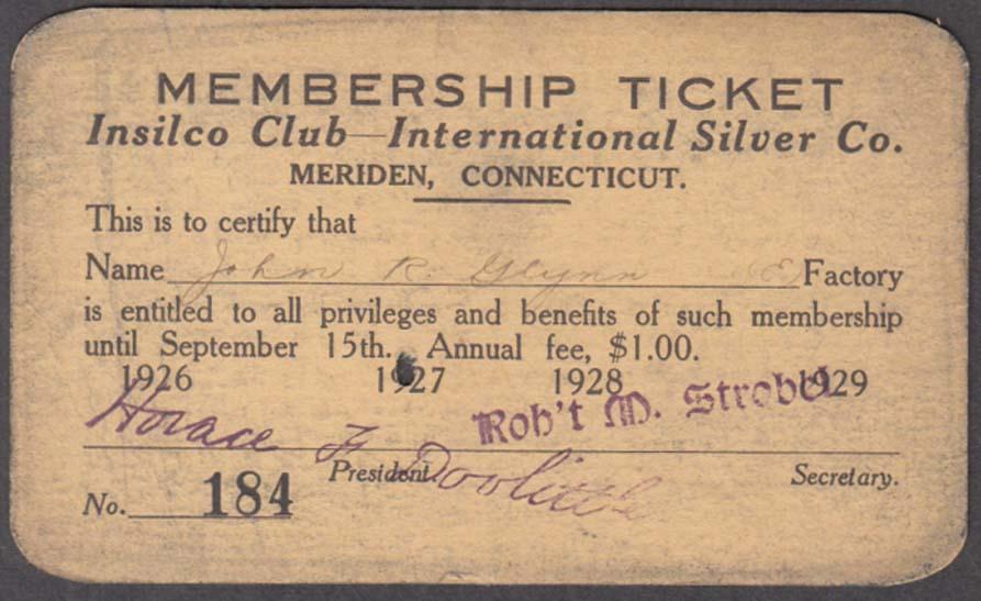 International Silver INSILCO CLUB Factory Worker Membership Card 1928 Meriden CT