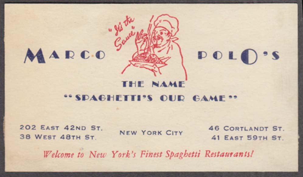 .Marco Polo's the Name Spaghetti's the Game Restaurant card NYC ca 1940s