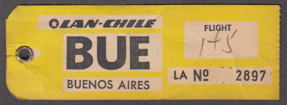 LAN-CHILE Airlines BUE Buenos Aires flown baggage tag ca 1960s