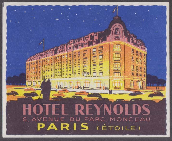 Hotel Reynolds 6 Avenue du Parc Monceau Paris baggage sticker