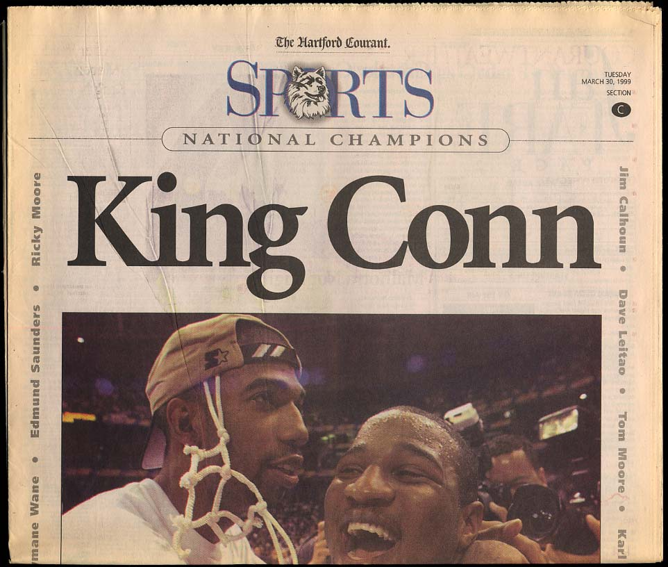 Image for King Conn National Champions newspaper section UConn Men's Basketball 1999