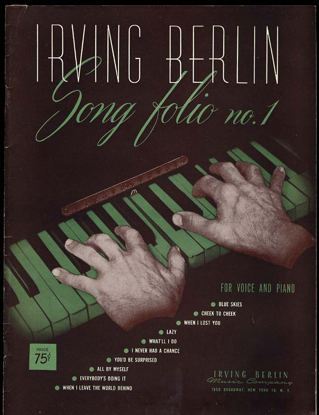 Irving Berlin Song Folio No. 1 for Voice & Piano 1944
