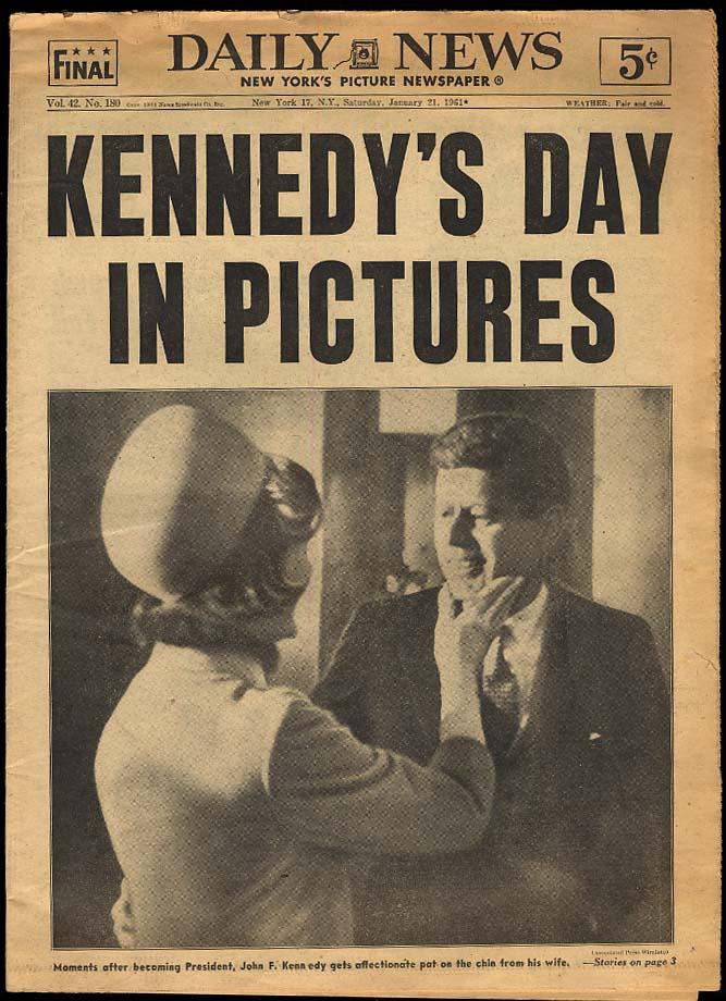 NY DAILY NEWS 1/21 1961 JFK Inauguration coverage Casey Stengel HOF