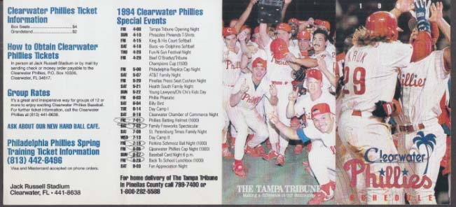 1984 Clearwater Phillies pocket schedule UNFOLDED