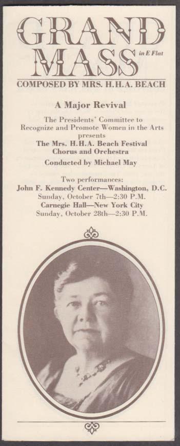 Mrs H H A Beach Grand Mass Revival folder 1984 JFK Center Carnegie Hall