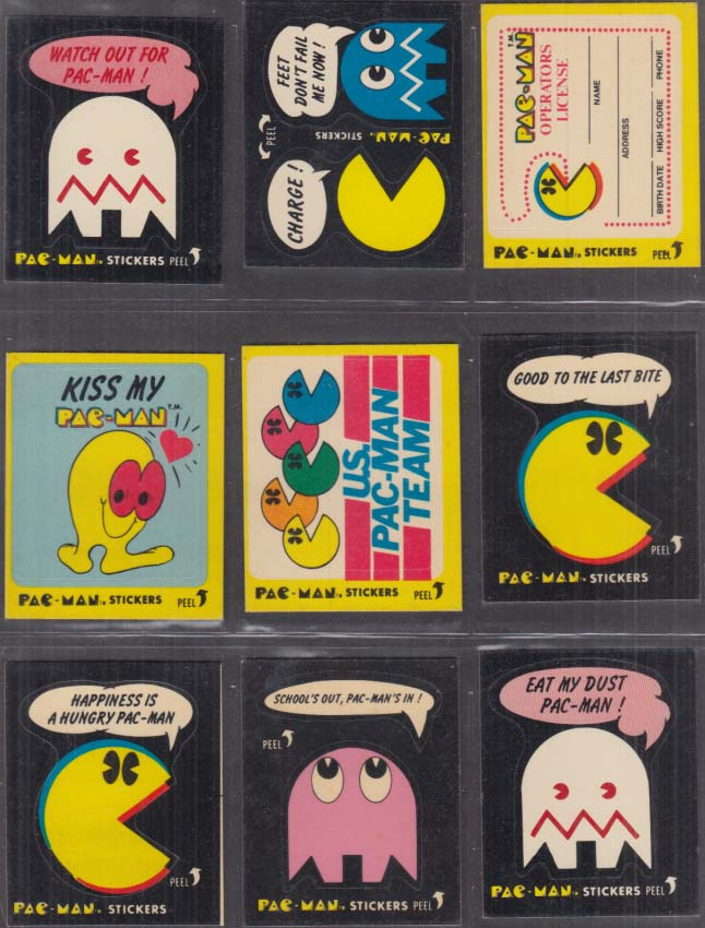 19 assorted Fleer Pac-Man trading cards 1980