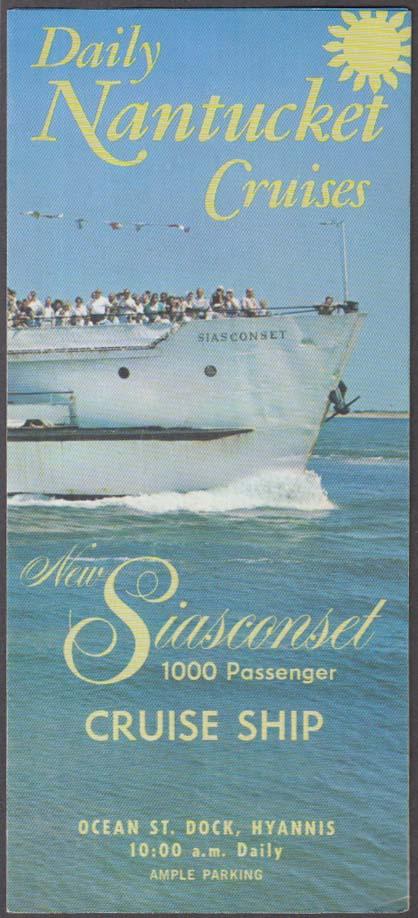 Daily Nantucket Cruises M V Siasconset Cruise Ship schedule folder 1960s