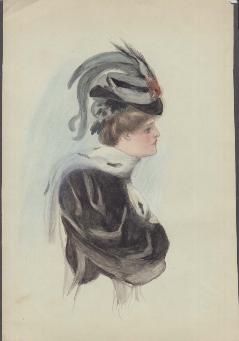 Gibson Girl style watercolor Louise Marvin ca 1910 feathered hat