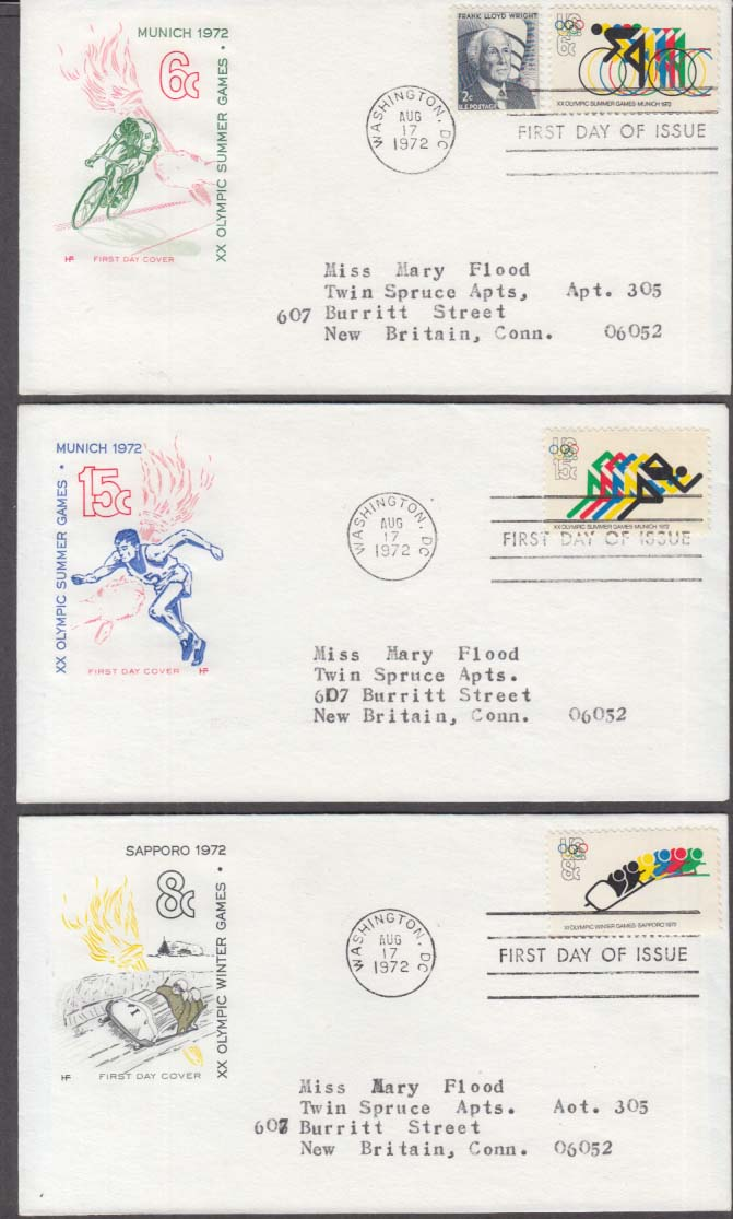 Image for XX Olympic Games set of 3 US FDC 1st Day Cachet Covers 1972 Munich Sapporo