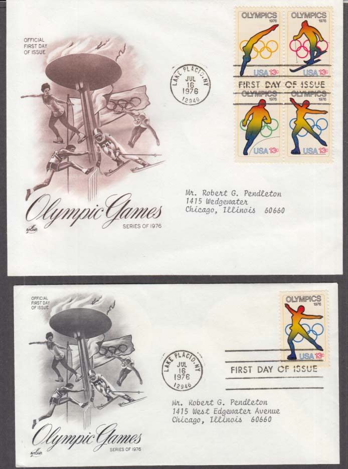 Olympic Games 1976 postal FDC 1st Day Covers & Liberian stamps