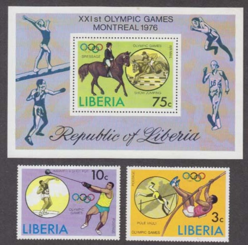 Image for Olympic Games 1976 postal FDC 1st Day Covers & Liberian stamps