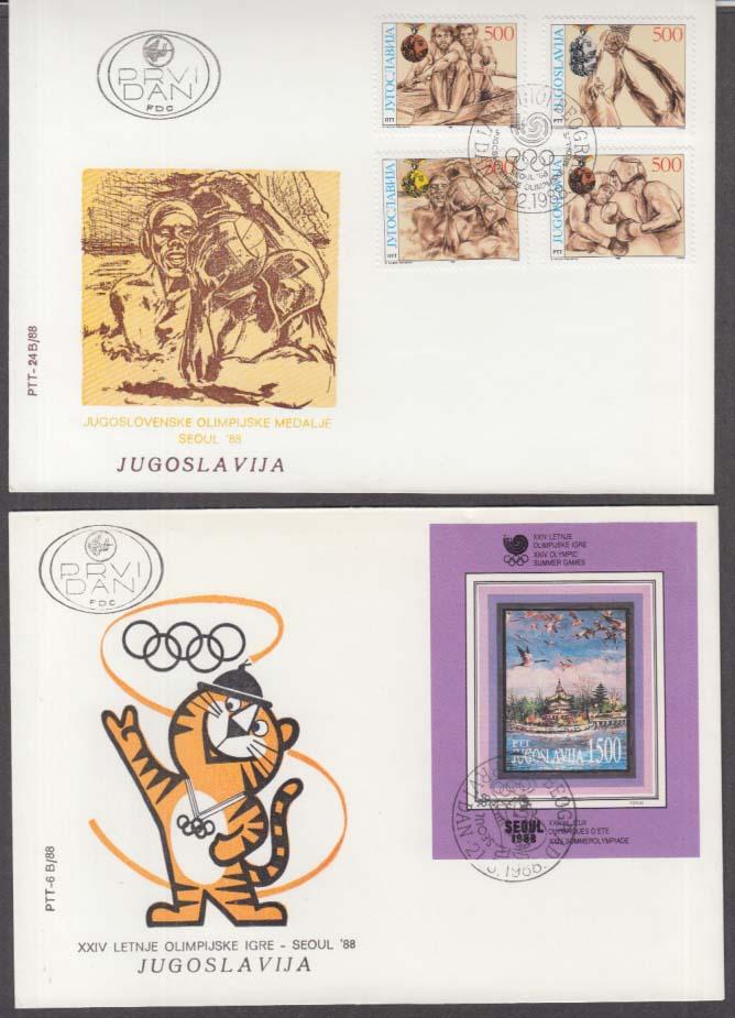 1988 Seoul Olympics Yugoslavia postal covers set of three
