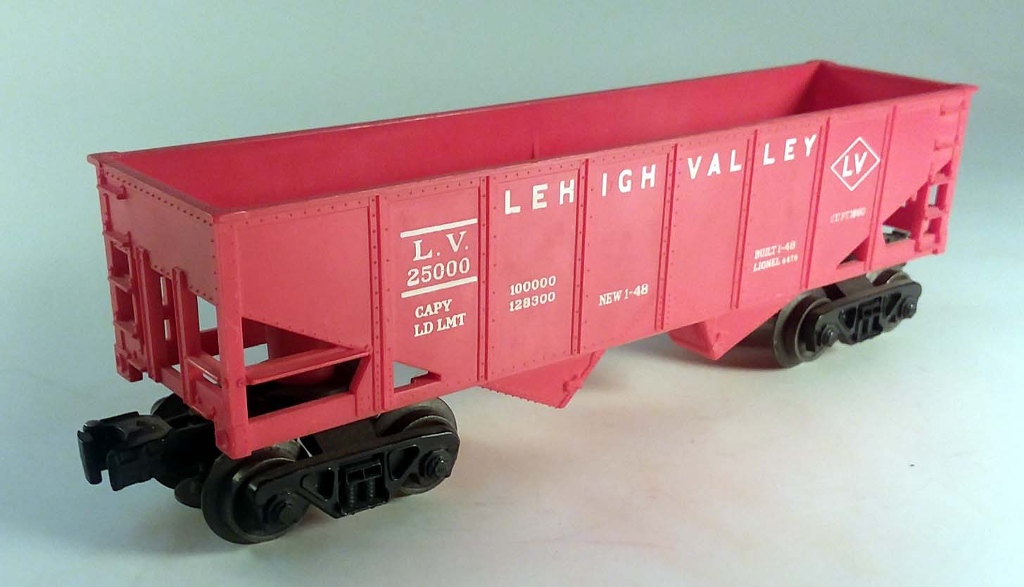 Lionel 6476-9 Lehigh Valley LV 25000 long red hopper 1963 disc couplers
