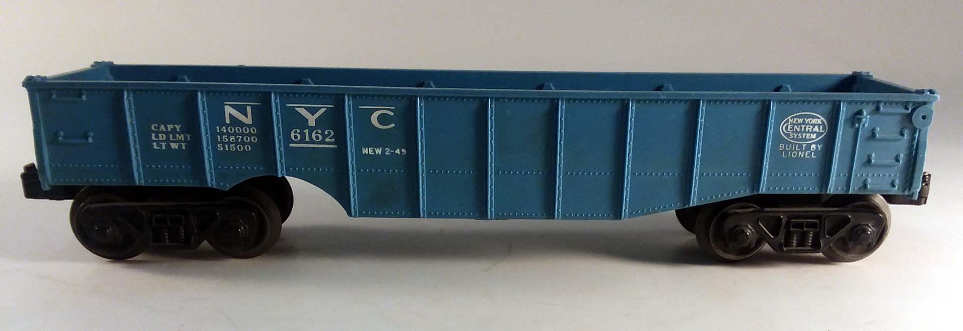 Lionel New York Central RR blue gondola 6162 no load 1959-1968