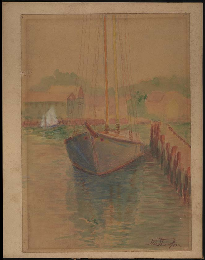 F L Thompson watercolor undated sailboat at dock