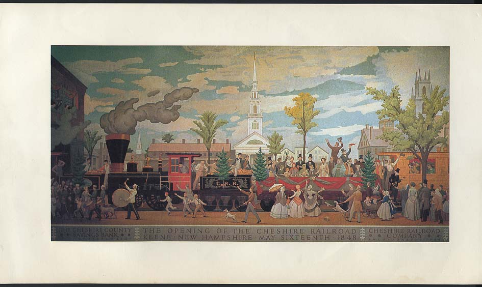 1848 Opening of the Cheshire Railroad mural print 1955 Cheshire Cty Savingg Bank