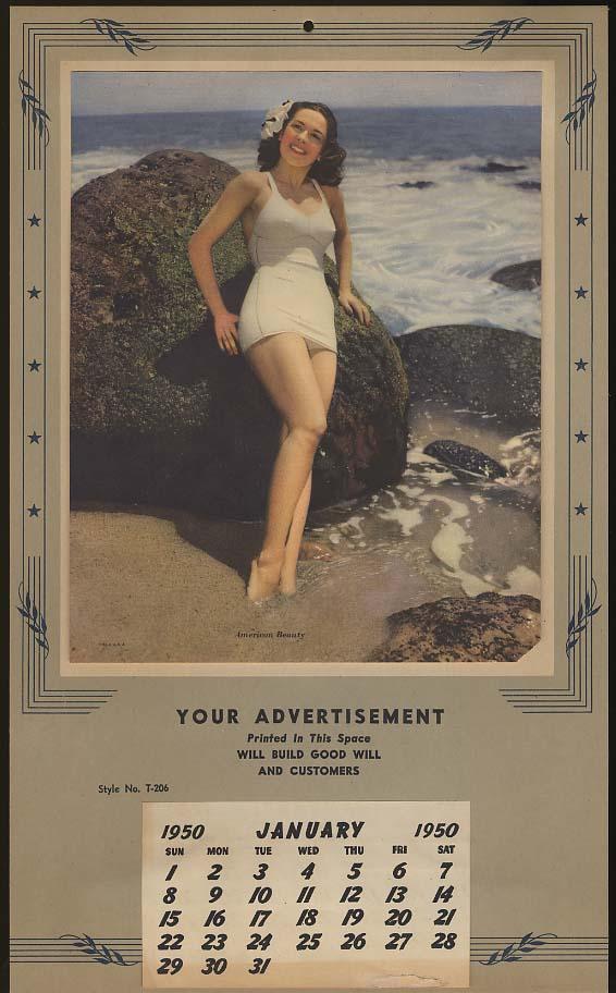 American Beauty swimsuit pin-up calendar salesman's sample 1950