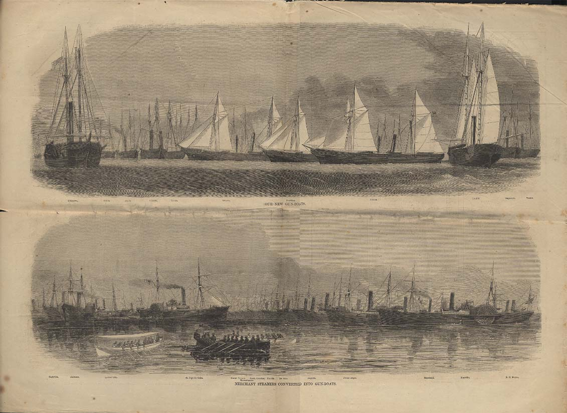 Image for HARPER'S WEEKLY spread 10/26 1861 New Union Gunboats / Coverted Steamers