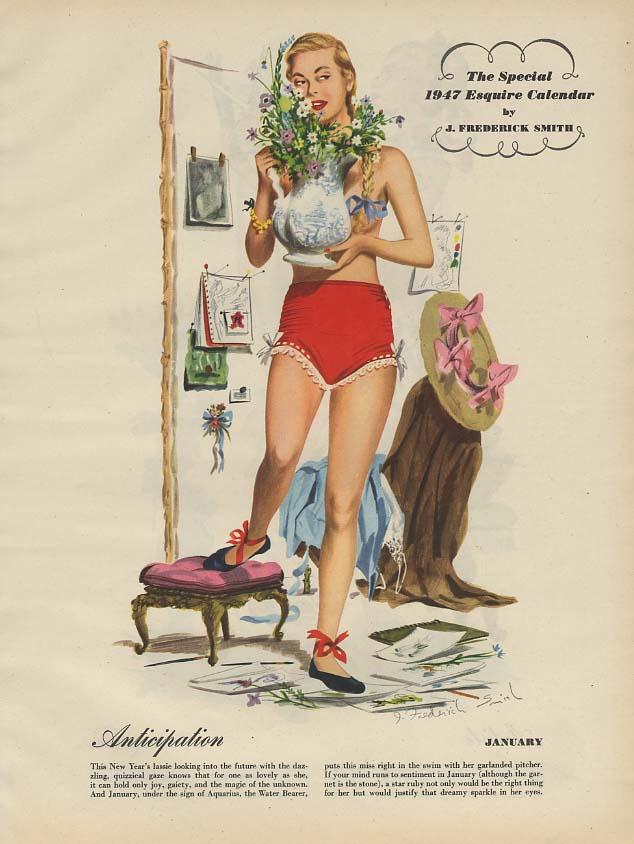 Esquire Magazine J Frederick Smith 1947 Pin-Up Calendar Insert