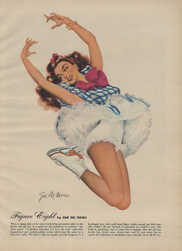Figure Eight ice skater skirt up by Joe De Mers pin-up page Esquire 1/1948.