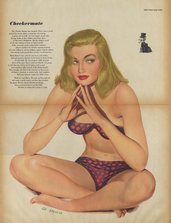 Checkermate by Al Moore pin-up foldout Esquire 3/1949 polkadot 2-piece swimsuit