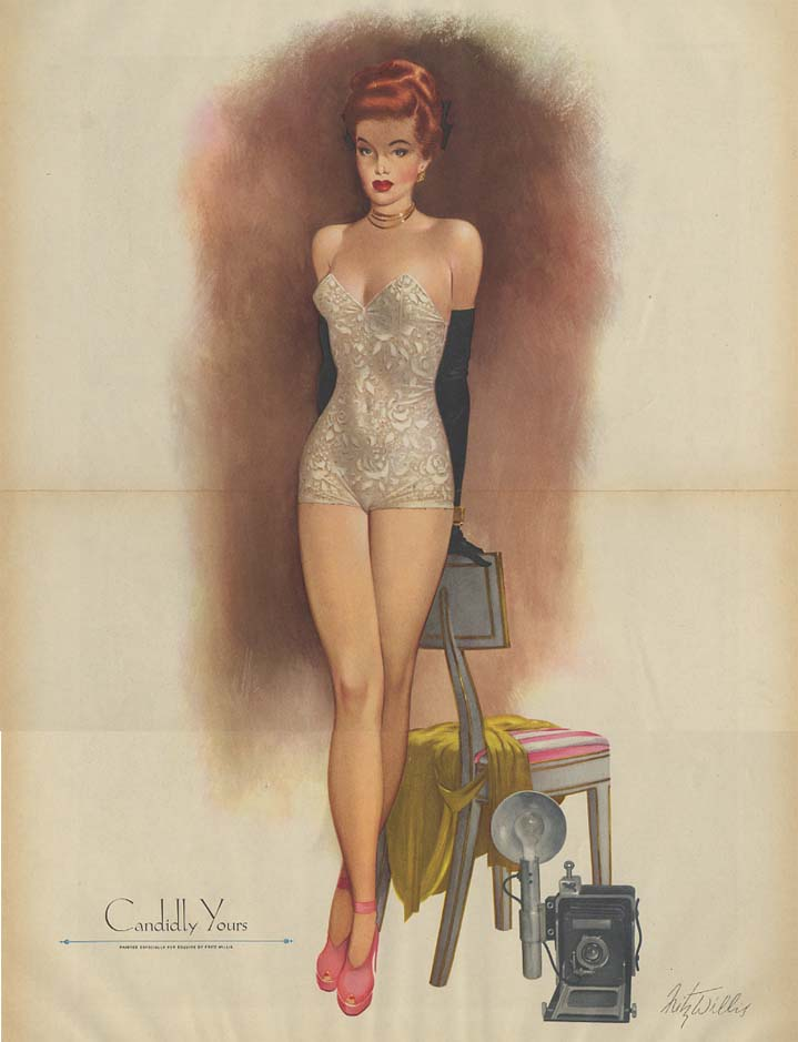 Candidly Yours by Fritz Willis pin-up foldout Esquire 1948 redhead photog model