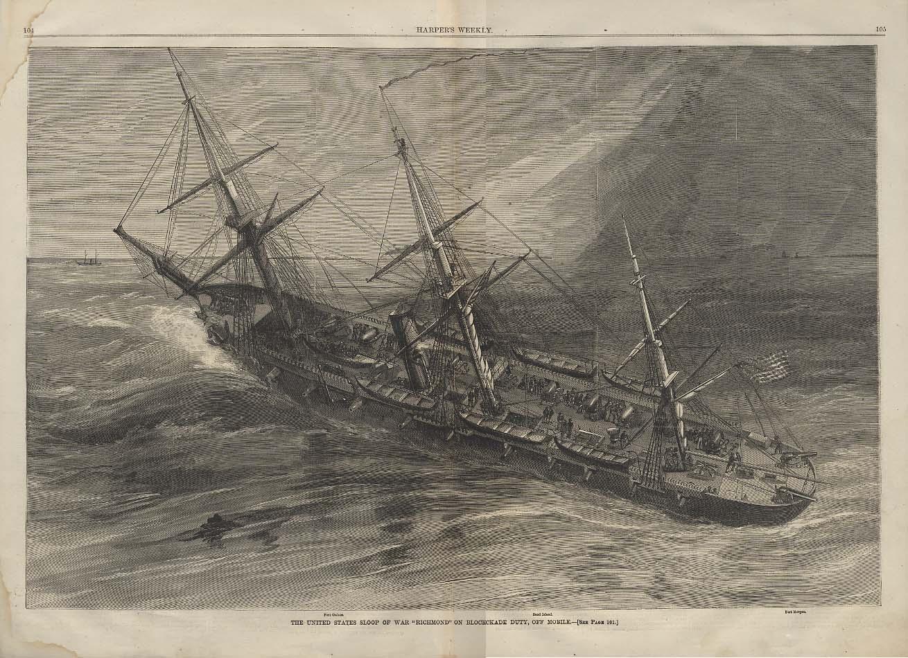 Image for USS Richmond on Blockade Duty Mobile AL: HARPER's spread Civil War 2/13 1864
