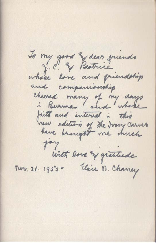 SIGNED: Elsie Northrop Chaney: The Ivory Carver 1955 2nd edition