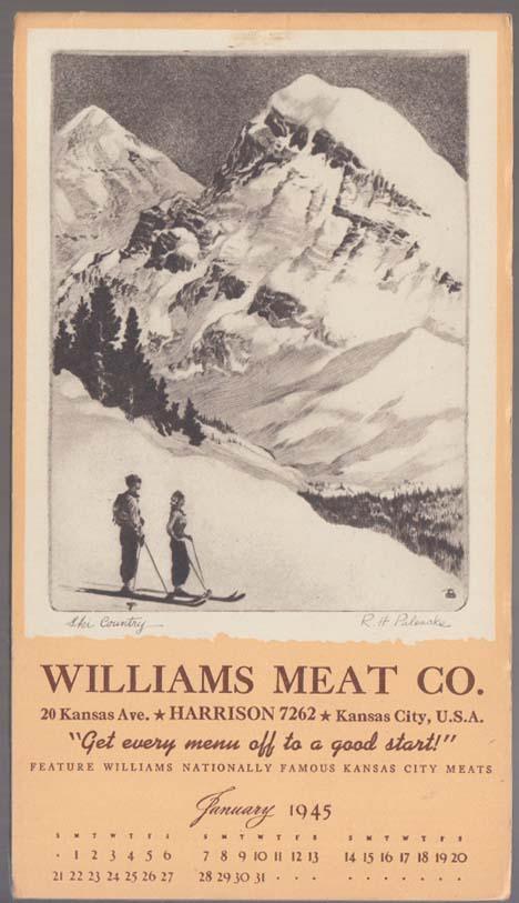 "Williams Meat Calendar notepad 1 1945 Kansas City Palenske ""Ski Country"""