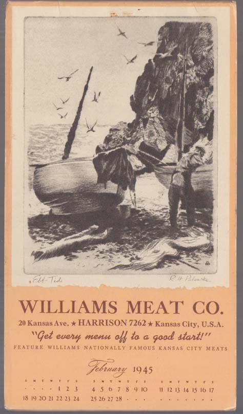 "Williams Meat Calendar notepad 1 1945 Kansas City Palenske ""Edd Tide"""