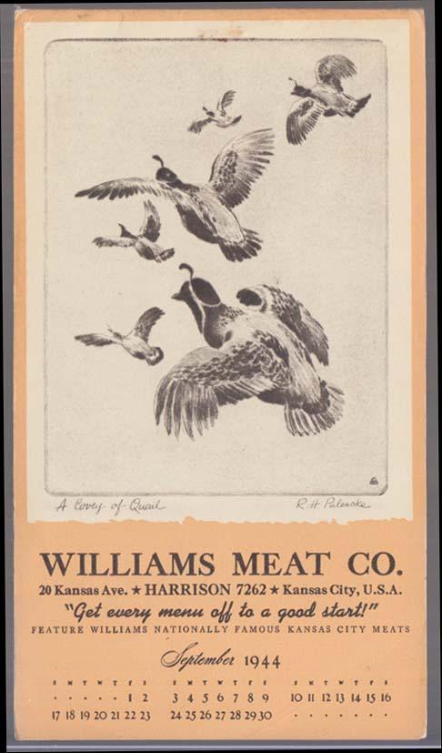 "Williams Meat Calendar notepad 9 1944 Kansas City Palenske ""A Covey of Quail"""
