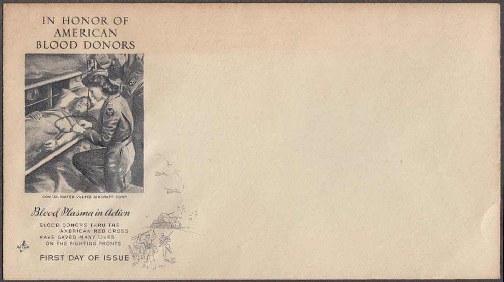 Blood Plasma in Action World War II postal cachet cover no stamp Vultee Aircraft