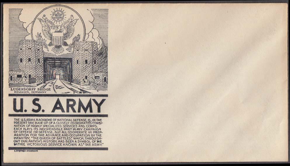 Ludendorf Bridge Remagen US Army postal cachet cover no stamp C Stephen Anderson