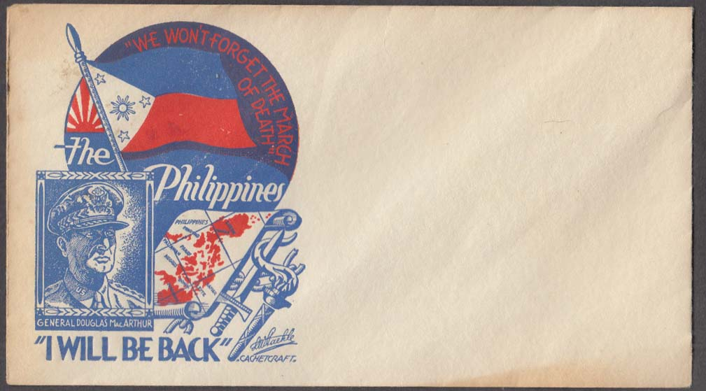 Gen MacArthur I Will Be Back Philippines postal cachet cover no stamp 1945